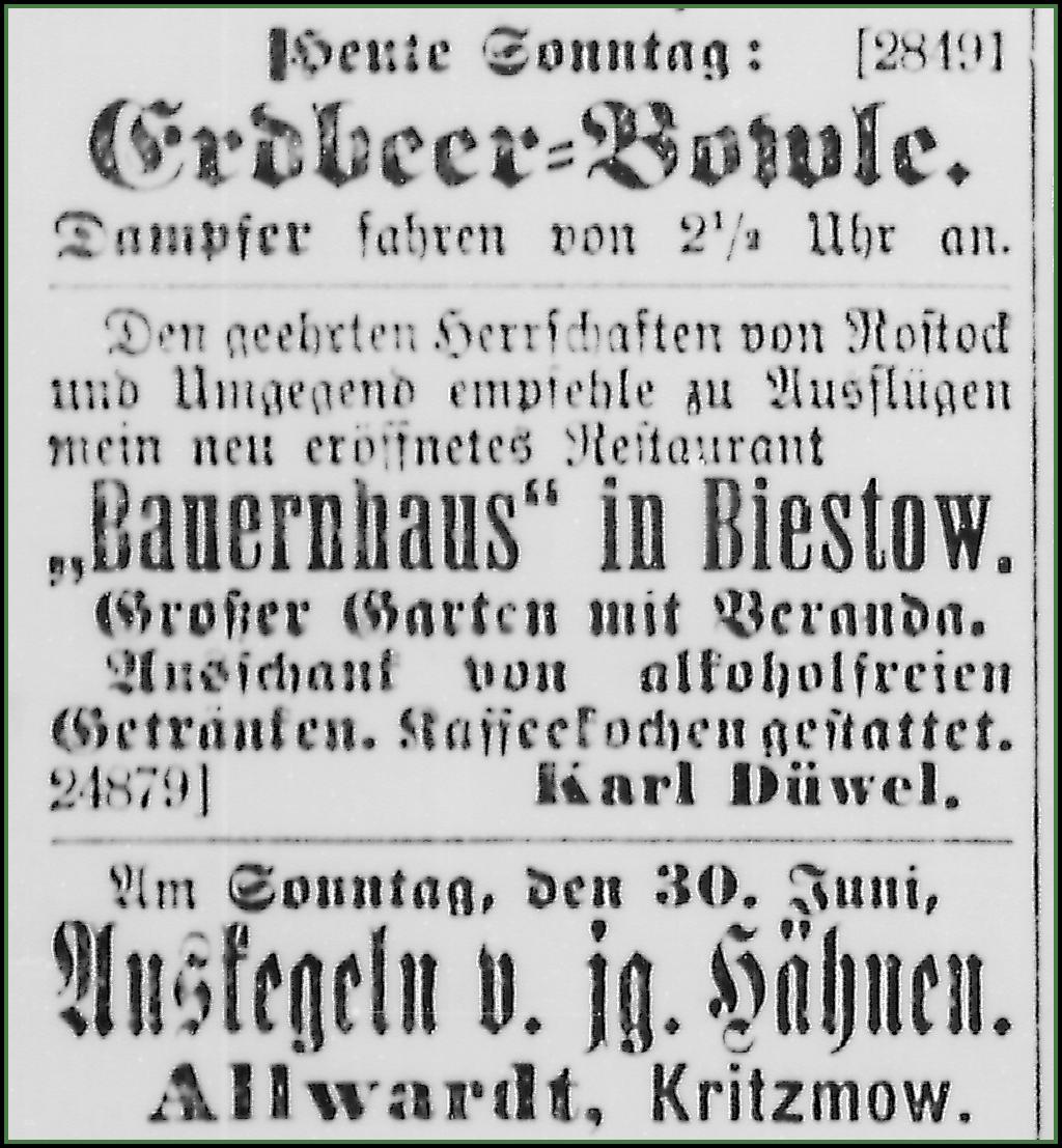 Restaurant Düwel 1907
